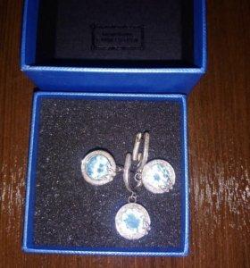 Серьги и кольцо из белого золота 985 пробы