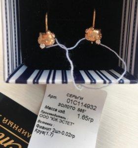 Новые сережки «Хелло Китти» для девочки золото 585