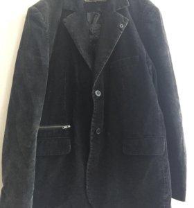 Мужской однобортный черный вельветовый пиджак