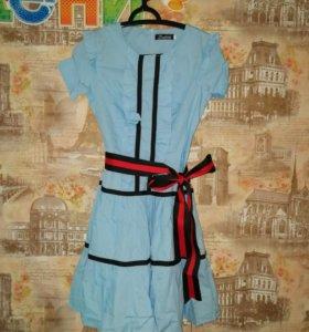 Платье голубое новое