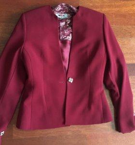 Комплект пиджак+кроп топ+ кружевная кофточка