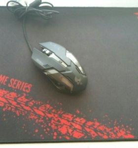 Игровая мышь Krios и коврик 40х30