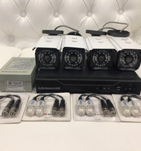 Комплект 4 кам,DVR,новый видеонаблюдения  уличный