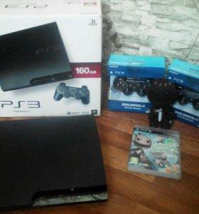 PlayStation 3 Slim + более 20 игр + 2 джоя новых !