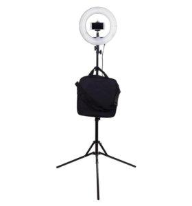 Кольцевая лампа+мобильная фотостудия с белым фоном