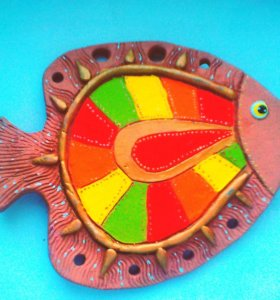 """Глиняная игрушка """"Золотая рыбка"""""""