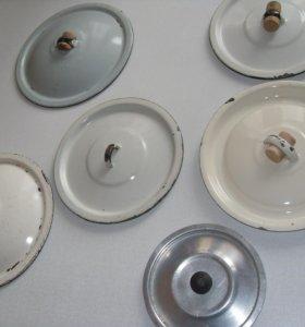 Крышки для посуды 8 штук эмалиров, стекло алюминий