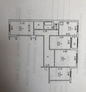 Квартира, 4 комнаты, 104.6 м²