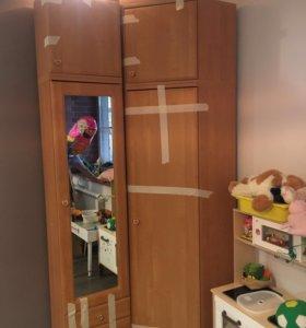 угловой шкаф, с зеркалом, 2 тумбы сверху