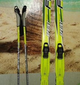 Лыжи Fischer, палки , лыжные ботинки.