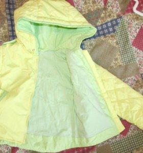 2 комплекта куртка+ конверт и варежки 74р