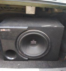 """Сабвуфер Polk Audio 12"""" в корпусе+усилитель Fusion"""