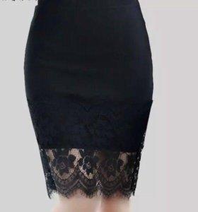 Стильная юбка с кружевом