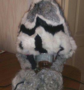 Зимняя шапка на девочку. Натуральный мех