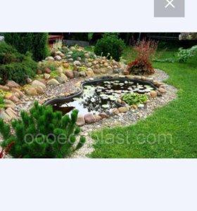 Большой садовый прудик с фонтанчиком
