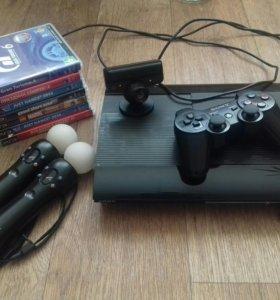 Playstation 3 Super Slim + доп. PS Move + 7 игр