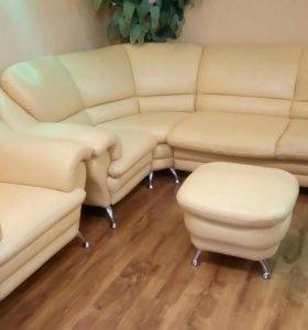 Угловой диван, кресло, пуф