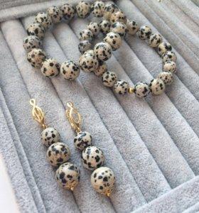 Комплект браслетов из натурального агата
