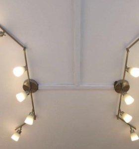 Потолочный софит, 5 ламп, никел. (новый)