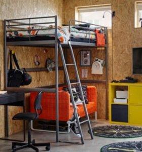 Кровать-чердак СВЭРТА IKEA, серебристая, 90x200