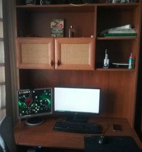 Стол письменный с тумбой для школьника и шкаф