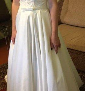 Свадеб.платье топ кружево юбка атлас,шлейф,карманы