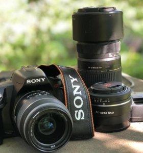 Soni a290 (три объектива, сумка)