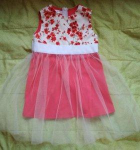 Красивое летнее красное детское платье в цветочек