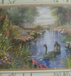 """Картина из пазлов """"Черные лебеди"""""""