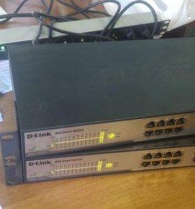 d-link web smart switch dgs 1224T(2шт)+