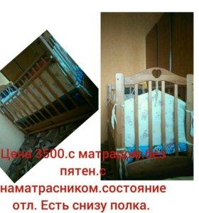 Продам кроватку с матрасом. Цена 3500. Торг