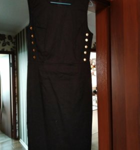 Чёрное хб платье 42р