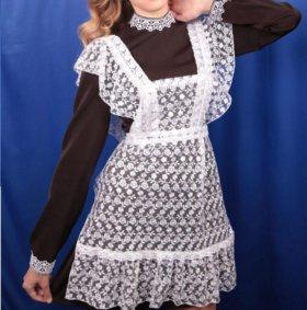 Школьная форма -платье+белый фартук 46-48