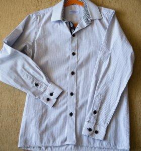 однотонная рубашка с длинным рукавом