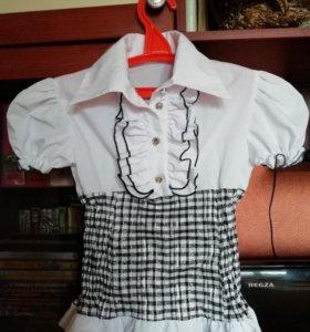 Блузка школьная р. 128 в идеальном состоянии ии