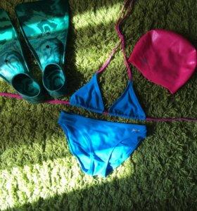 Купальник, ласты, шапочка,носки для бассейна