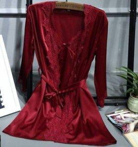 Атласный комплект халат + сорочка