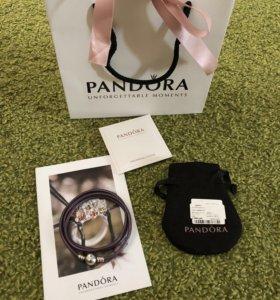 Новый Кожаный браслет Pandora