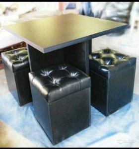 Стол и пуфики для дома и офиса/бара