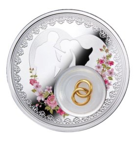 Свадебная монета, 2 доллара, серебро