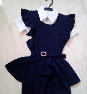 Платье школьное с блузкой