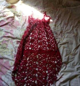 Платье легкое летнее ,красное кружево