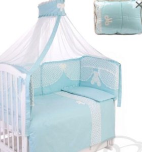 Комплект бортики балдахин постельное в кроватку