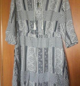 Платье с подкладкой чёрно-белый,с резинкой