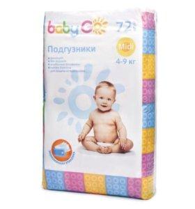 Подгузники BabyGo (4-9 кг) 72 штуки