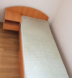 Кровать с тумбой. Матрас в подарок