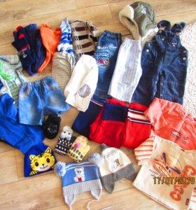 Футболки, штанишки, шапки, кофты. Пакетом.