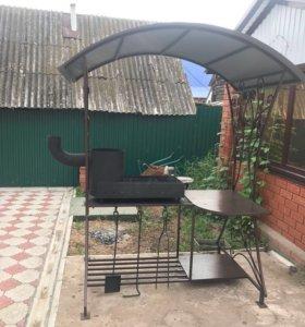 Мангал с крышой со столом