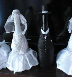 Свадебное шампанское для оформления стола