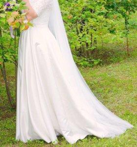 Свадебное платье (атлас)